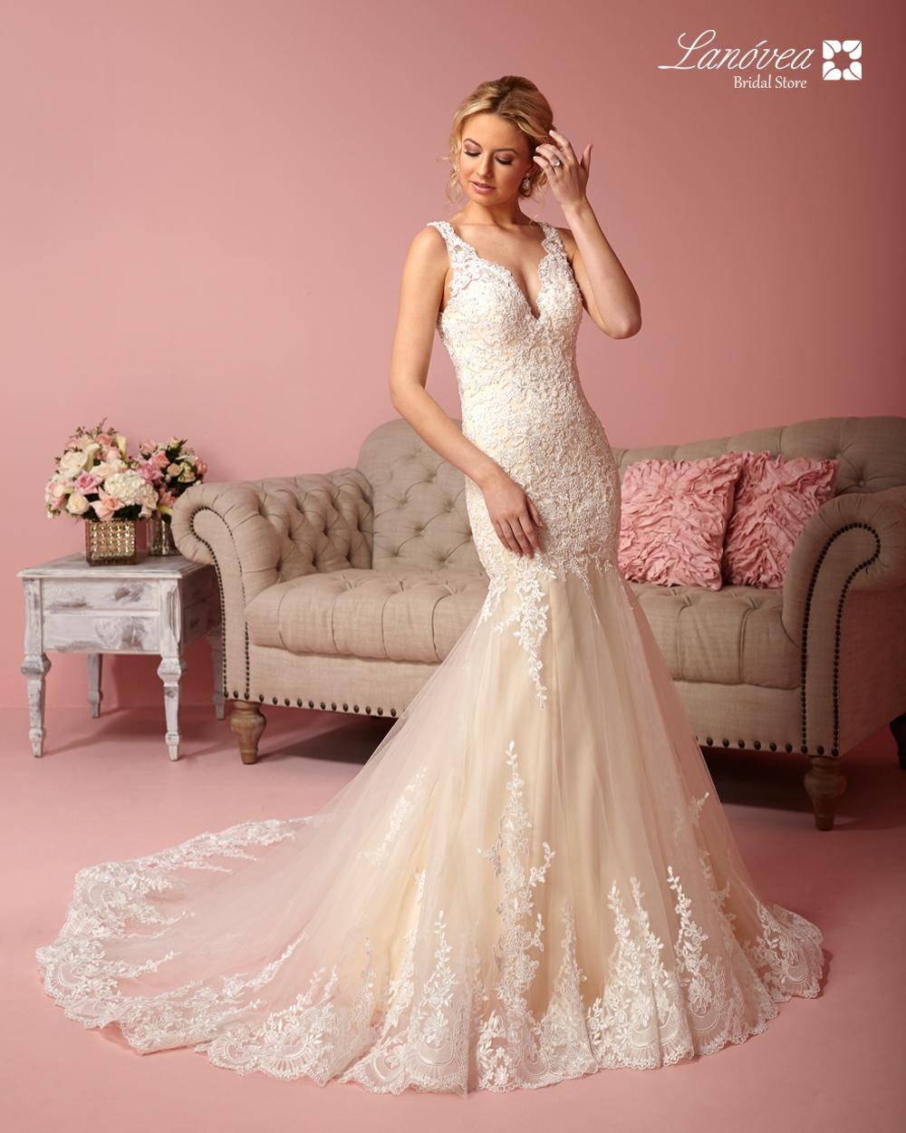 Elegante vestido de novia en encajes sirena - Lanovea