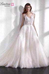 Vestido de novia en transparencias, encajes y tulle Libano